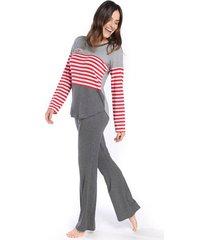 pijama feminino de manga longa stripe cat - kanui