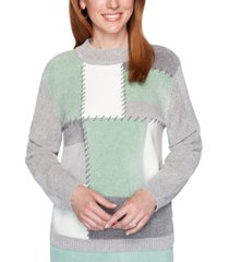 alfred dunner lake geneva patchwork chenille sweater