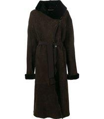 liska wide collar coat - brown