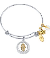 "unwritten ""good vibes only"" hamsa bangle bracelet in stainless steel & gold-tone with silver plated charms"