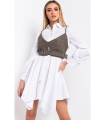 akira no worries mini button up dress with attached tank