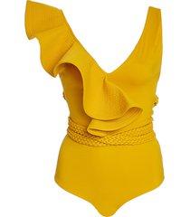 fanciful asymmetric ruffled swimsuit