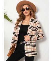 chaqueta de cuello chal con diseño de bolsillos a cuadros