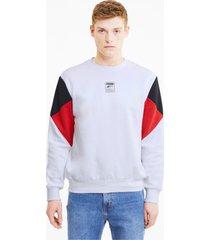 rebel small logo sweater met ronde hals voor heren, wit/aucun, maat xs | puma