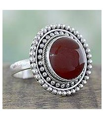carnelian cocktail ring, 'tangerine sunset' (india)