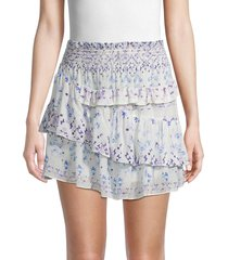 iro women's printed ruffled mini skirt - blue - size 38 (6)