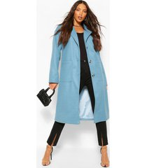 lang wollook longline jas met zakdetail, blauw