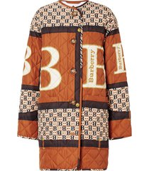 burberry archive scarf print diamond quilted coat - brown