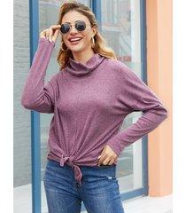 yoins purple diseño camiseta de manga larga con cuello de chimenea