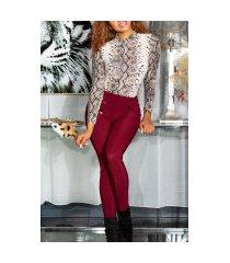 sexy hoge taille broek/leggings met decoratieve knopen bordeaux