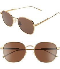 bottega veneta 56mm round sunglasses - gold/ brown