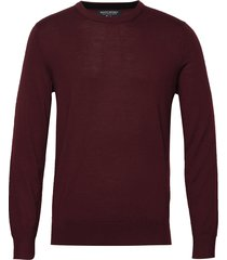 italian merino crew-neck sweater stickad tröja m. rund krage röd banana republic