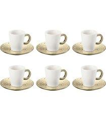 jogo de 12 pçs xícaras para chá com pires de porcelana drop dourada 200ml lyor