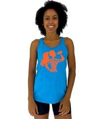 regata feminina alto conceito drink more water azul piscina - azul - feminino - algodã£o - dafiti