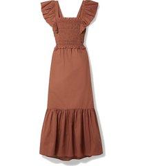 gladys cutout ruffled shirred cotton maxi dress