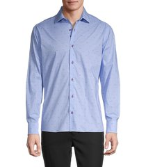 bertigo men's poplin-print long-sleeve shirt - blue - size xl