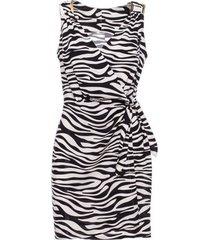 korte jurk be b156 mini mouwloos jurkje met zebraprint - wit
