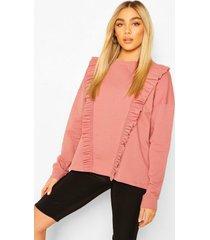 frill trim sweater, dusky pink