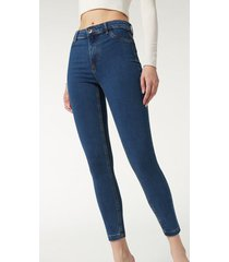 calzedonia thermal jeans woman blue size l