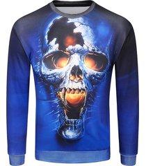3d terrible skull print pullover sweatshirt