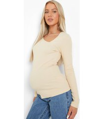 zwangerschap geribbelde asymmetrische top met lange mouwen, clay