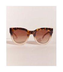óculos de sol oval feminino hype beachwear degradê tartaruga