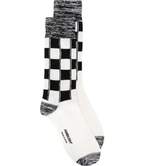 ambush long check-pattern socks - white