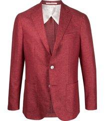 barba single-breasted coated blazer - red