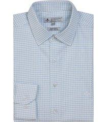 camisa dudalina manga longa fio tinto maquinetado xadrez masculina (azul medio, 48)