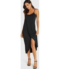 black spaghetti strap irregular hem sleeveless dress