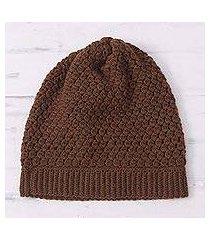 alpaca blend hat, 'burnt orange delight' (peru)