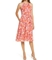 women's eliza j floral print halter neck dress