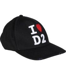 dsquared2 black cotton baseball cap