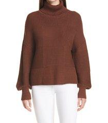 women's staud benny turtleneck sweater, size x-small - brown
