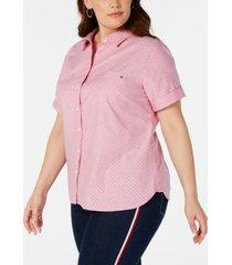 tommy hilfiger plus size cotton dot-print camp shirt