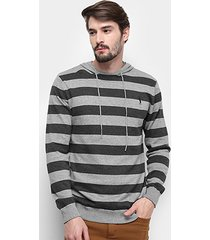 blusa tricot aleatory listrada capuz masculina