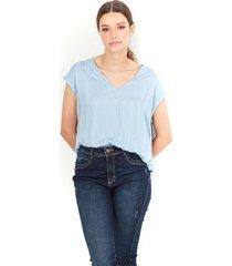 """blusa para dama, cuello en """"v"""" , manga sisa con sutil escote en la parte trasera color-azul-talla-m"""