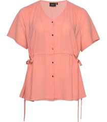 blouse plus v neck buttons loose fit blouses short-sleeved rosa zizzi
