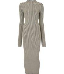 dion lee striped twisted back dress - neutrals
