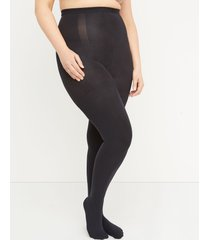 lane bryant women's high-waist super opaque shaping tights g-h black