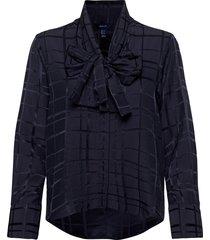 d2. check structured bow blouse blouse lange mouwen blauw gant