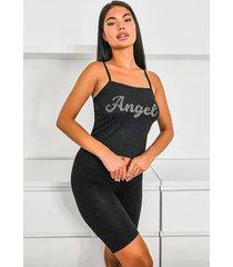 angel diamonte strappy rib top, black
