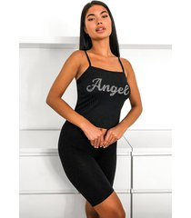angel diamonte strappy rib top