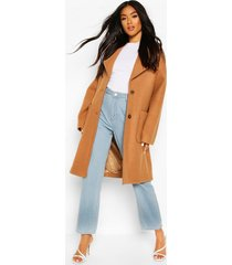 brushed wool look oversized longline coat, camel