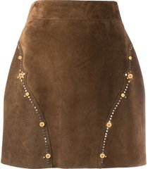 versace studded suede skirt - brown