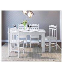 conjunto mesa cozinha com 4 cadeiras branco lilies móveis