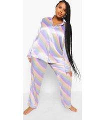 plus satijnen pastel gestreepte pyjama, multi
