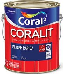 tinta coral coralit esmalte sintético secagem rápida acetinado, galão 3,6 litros, branco