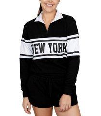 rebellious one juniors' new york graphic-print fleece sweatshirt
