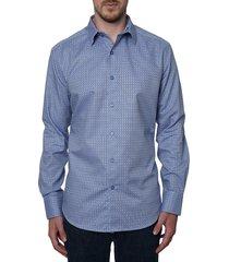 robert graham men's drifters printed sport shirt - blue - size m
